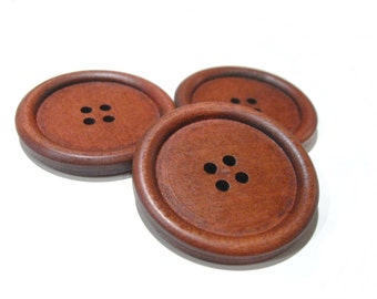 """Large wood button maroon brown - 3 wooden big buttons 40mm (1 5/8"""")  #BB142D"""