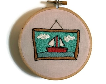 The Simpsons Sailboat Hand Embroidery Hoop Art