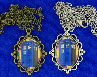 Dr Who Tardis Police Box Necklace or Keychain Doctor Who Flower Background