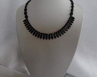 Black necklace, swarovski crystal and Czech glass beads.