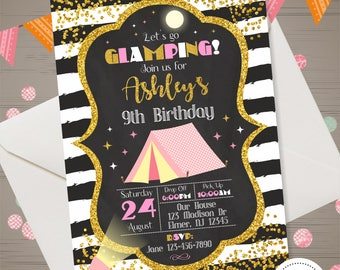Glamping Invitation Girl Camping Invitation Glamping Birthday Party Glam Camping Birthday Invitation Sleepover Camping Invite Camp Out Kids