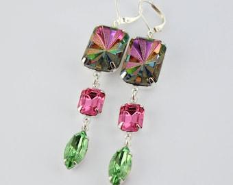 Vitrail earrings, peridot earrings, long pink earring, bridesmaid earrings, Spring wedding, pink and green earrings, rainbow earrings