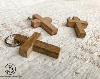 rustic cross pendants handmade from reclaimed tobacco barn wood