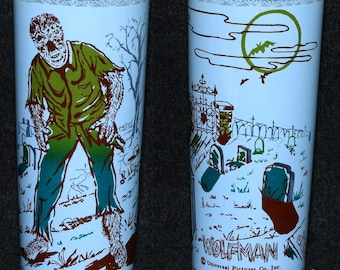 Universal Monsters 1960s Wolfman Tumbler Drinking Glass Anchor Hocking