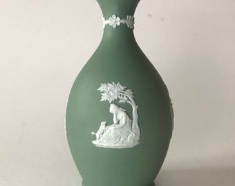 Antique Wedgwood Jasperware Bud Vase with Dogs and Angels circa 1890