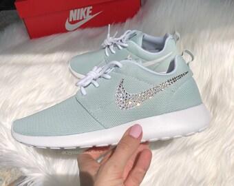 Women's Nike Roshe Run Made with SWAROVSKI® Crystals - Mint/White