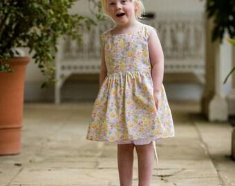 Girls party dress, boho wedding, flower girl dress, summer dress,floral dress,  liberty print dress, special occasion, liberty, yellow dress