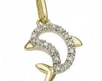 14k Gold and White Diamond Dolphin Pendant Charm