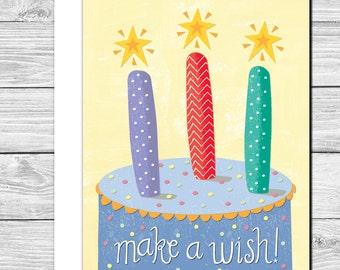 Make a wish hand drawn birthday card