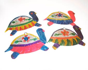 Large Turtle Tin Ornaments from Mexico, Mexican Metal Lot Set of 4