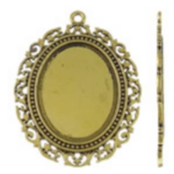 Support Cabochon retro 3 x 4 cm color gold
