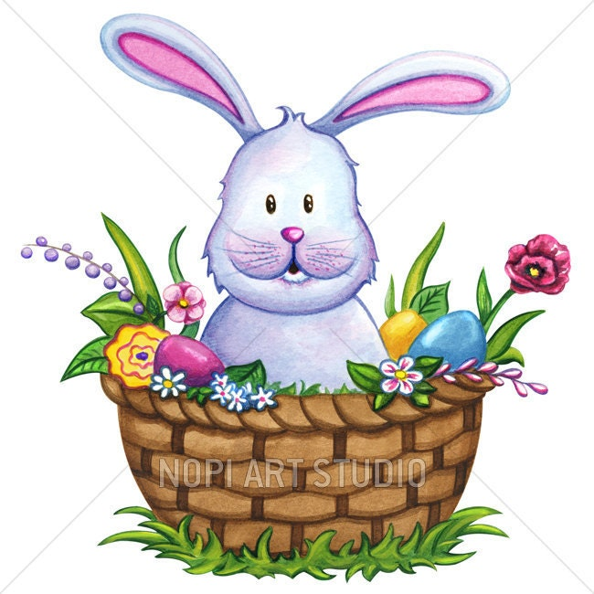 easter bunny clip art easter basket with colorful eggs and flowers rh etsystudio com  free easter bunny clipart images