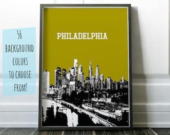 Philadelphia Skyline Poster, Philadelphia City Art Philadelphia Poster Philadelphia City Art Philadelphia Print Wall Decor Philadelphia Dorm