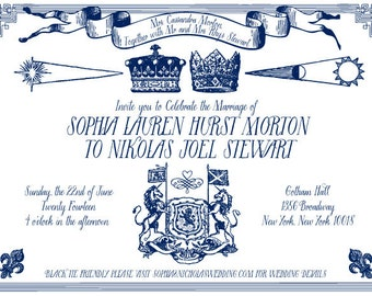 Modern Royal Wedding Letterpress Invitation Suite