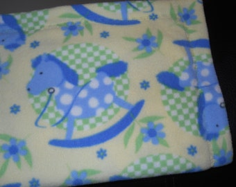 Beautiful Fleece Receiving  Blanket for Infant Baby in yellow with Blue Rocking Horses
