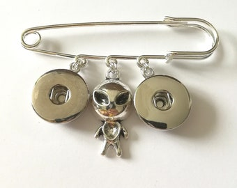 Alien Snap button jewelry safety pin brooch