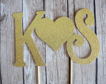 Personalised Initials Cake Topper - Gold Glitter Topper, Custom Wedding Monogram cake topper, Personalized Gold Cake topper