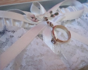 Bridal Garter with Vintage Wedding Ring Charm, one of a kind, new