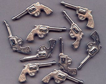 Lot of 10 Old Chrome Metal Mini TOY COWBOY GUNS