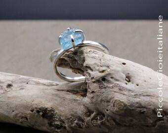 Ring apatite Rough Ring silver 925 apatite natural ring gemstone ring gemstones ring Blue water ring craft