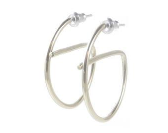 Silver Minimalist Hoops, Unique Silver Hoop Earrings, Semicircle Silver Hoop Earrings, Smooth Sterling Hoop Earrings, Simple Silver Hoops