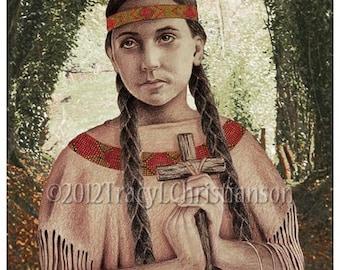 St. Kateri Tekawitha Catholic Art Print, Patron of Native Americans #4120