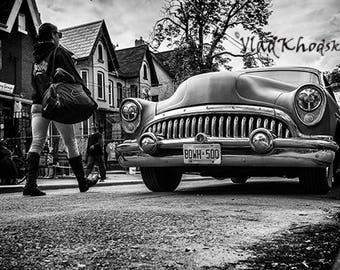 Once at Kensington Market - black and white photography, fine art prints, antique car, vintage, home decor, wall decor, gift,