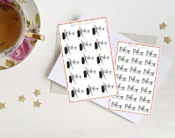 PICK UP Dry Cleaning Planner Stickers - Functional Fashion Girl Cute ElleDoll Stickers for Erin Condren and Other Notebooks