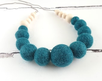 Felt Ball Necklace with Wooden Beads, Felted Wool Necklace, Dark Teal Necklace, Chunky Necklace, Statement Jewellery, FREE gift box