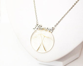 love necklace dandelion jewelry love gift mother terrarium necklace dandelion seed necklace grandmother gift wish necklace cute gifts P7