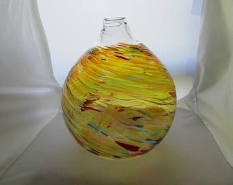Art Glass End of Day Glass Vase by Loretta Eby Called PARADISE