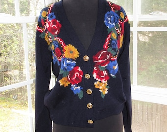 Vintage Floral Navy Sweater Emboridered Cardigan, Small, Medium