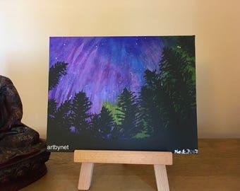 Aurora Borealis painting, aurora art, acrylic aurora painting, perfect gift, 25.4cm x 20.3cm, nature, painting on canvas, home decor