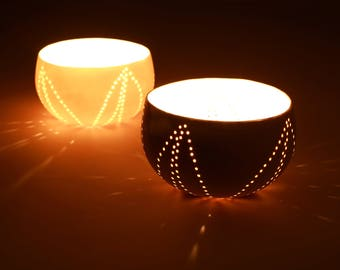 Handmade Ceramic Bowl. Porcelain White Unique Bowl. Ceramic Colander.Contemporary Tea Light Holder. Wedding Bowl Collection by CONCEPTstudio