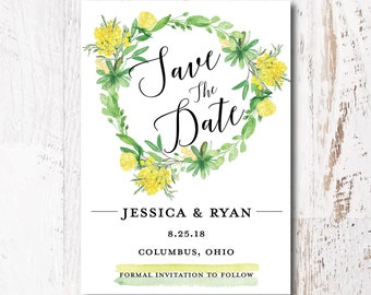 Country Wedding Save the Date Cards - Printed Save the Date Card, Wedding Announcement, Floral Save the Date