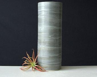 Modern Ceramic Cylinder Vase Steel Grey