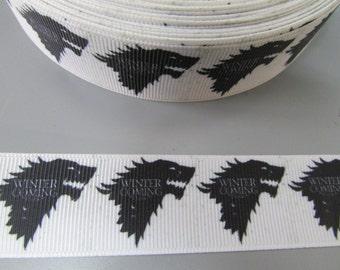 Game of Thrones Winter is Coming 2.5cm Grosgrain Ribbon x 1 metre