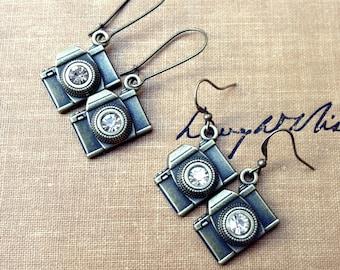 Camera Earrings, Camera Jewelry, Photography Jewelry, Dangle Earrings, Brass Earrings