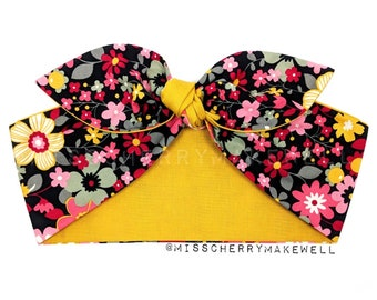 Mustard Retro Floral Flower Power Rockabilly Vintage 50's Inspired Reversible Head Scarf Hair Tie Headscarf Hair Bow by Miss Cherry Makewell