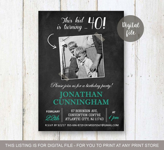 40th Birthday Invitation For Men Chalkboard Collage Photo