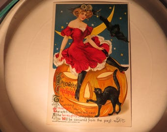 Antique Halloween Winsch Postcard Lady in Red Dress Sitting On Pumpkin with Cat and Bat - Mint Unused