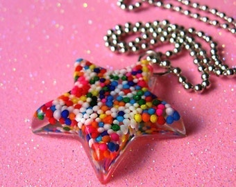 Star Necklace Featured in J-14 Magazine Catch a Falling Star Through Rainbows wearable resin sprinkles star pendant necklace by isewcute