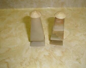 vintage pair salt pepper shakers set agate marble