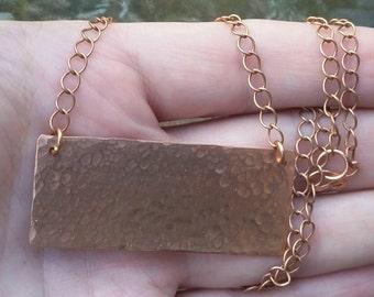 Hammered Copper Necklace Bar