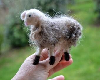 My sheep Skivy; felted Merino Wool, miniature gift, home decor, textile organic toy, ornament, waldorf hygge felting