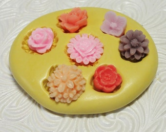 Flower Set Mold Flexible Silicone Rubber Push Mold for Resin Wax Fondant Polymer Clay Royal Icing Mould