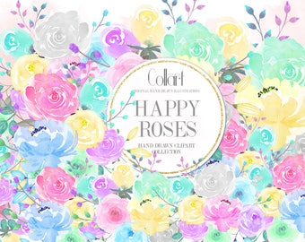 Watercolor Flowers Clip Art Set, Hand Drawn Flowers, Floral Clipart, Watercolor Roses, Watercolor Illustration, Planner Graphics, Painted