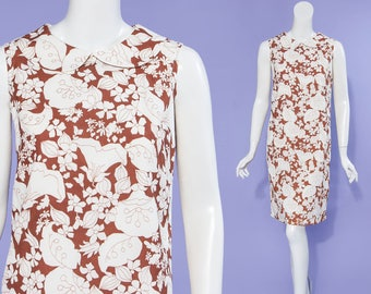 60s Aldens white and brown floral sleeveless shift dress, size small