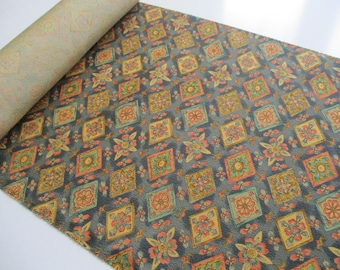Vintage Japanese silk haori fabric - Available by the metre - Colour Shades of Green, Gold Sand, Brown and Peach