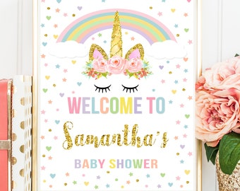 Unicorn Welcome Sign, Unicorn Baby Shower Welcome Sign, Personalized Baby Shower Welcome Sign, Magical Unicorn Printable Welcome Sign